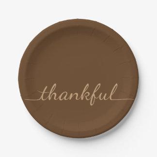 Placa de papel de la acción de gracias agradecida plato de papel de 7 pulgadas