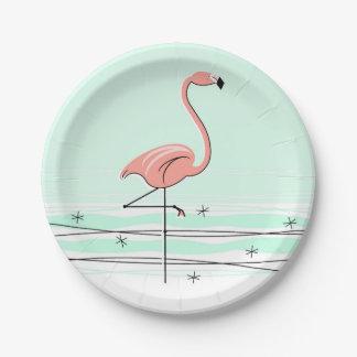 Placa de papel de la aguamarina del flamenco plato de papel de 7 pulgadas
