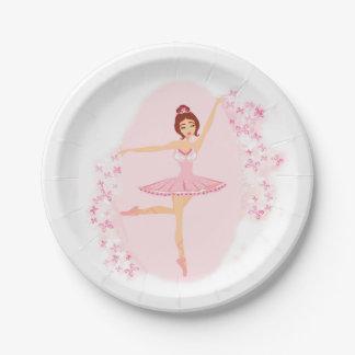 Placa de papel de la bailarina hermosa plato de papel de 7 pulgadas