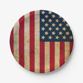 Placa de papel de la bandera americana del vintage plato de papel de 7 pulgadas