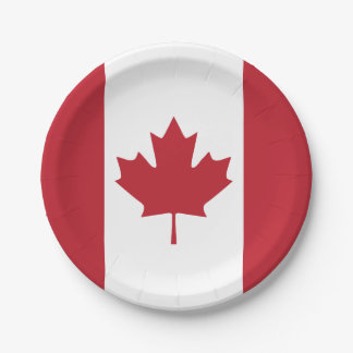 Placa de papel de la bandera de Canadá Plato De Papel 17,78 Cm