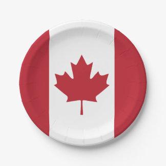 Placa de papel de la bandera de Canadá Plato De Papel De 7 Pulgadas