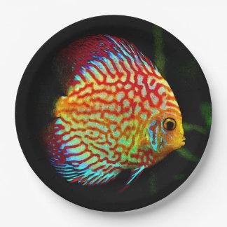 Placa de papel de la cena de los pescados del plato de papel de 9 pulgadas