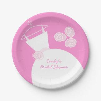"Placa de papel de la ""ducha nupcial"" del rosa del plato de papel de 7 pulgadas"