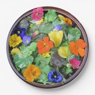 Placa de papel de la ensalada hermosa de la flor plato de papel de 9 pulgadas