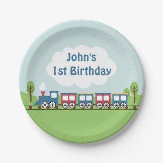 Placa de papel de la fiesta de cumpleaños del tren platos de papel