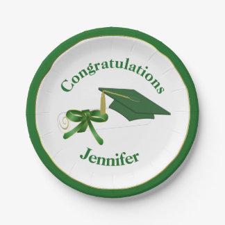 Placa de papel de la fiesta de graduación verde platos de papel