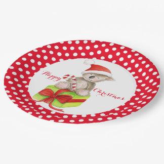 Placa de papel de la fiesta de Navidad feliz del Plato De Papel De 9 Pulgadas