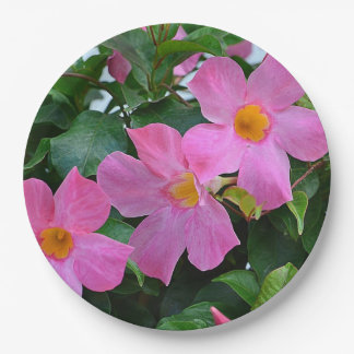 Placa de papel de la flor rosada plato de papel de 9 pulgadas