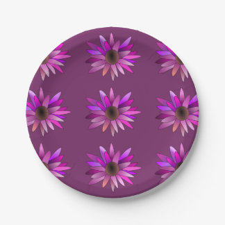 Placa de papel de la flor rosada plato de papel de 7 pulgadas