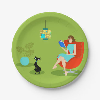 Placa de papel de la mujer retra de la lectura platos de papel