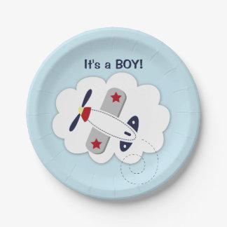 Placa de papel de la pequeña del aviador fiesta de plato de papel de 7 pulgadas