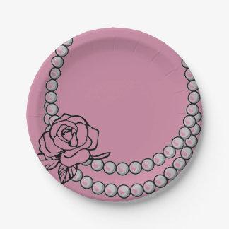 Placa de papel de la perla y del collar color de plato de papel de 7 pulgadas