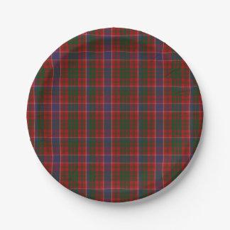 Placa de papel de la tela escocesa de tartán del plato de papel de 7 pulgadas