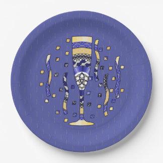 Placa de papel de la tostada del Año Nuevo Plato De Papel 22,86 Cm