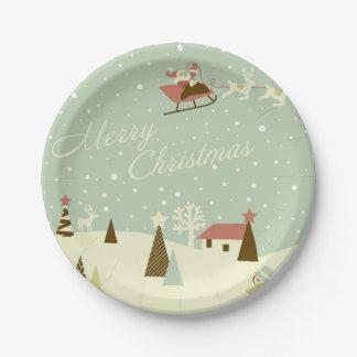 Placa de papel de las Felices Navidad de Papá Noel Plato De Papel De 7 Pulgadas