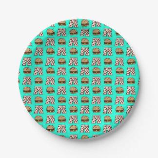 Placa de papel de los boxeadores del cheeseburger platos de papel