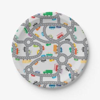 Placa de papel de los caminos ocupados plato de papel de 7 pulgadas