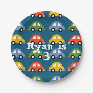 Placa de papel de los coches platos de papel