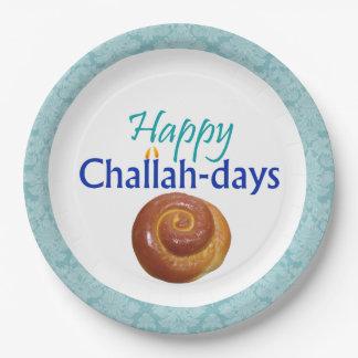 Placa de papel de los Jalá-Días del brocado feliz Platos De Papel