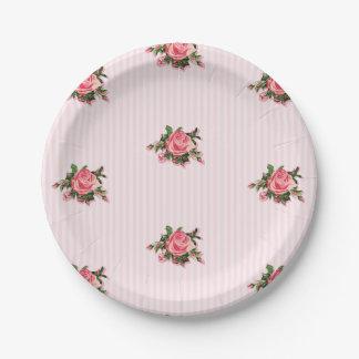 Placa de papel de los rosas de té rosado plato de papel de 7 pulgadas