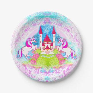 placa de papel de los unicornios lindos platos de papel