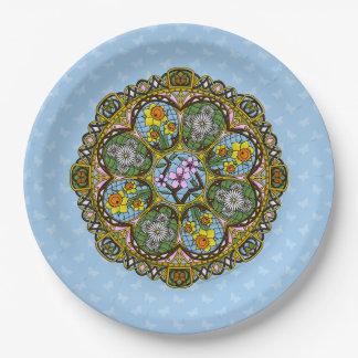 Placa de papel de Nouveau de la primavera Plato De Papel De 9 Pulgadas