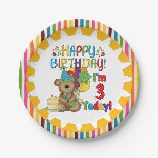 Placa de papel del 3ro cumpleaños del oso de plato de papel de 7 pulgadas