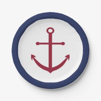 Placa de papel del ancla roja náutica de la fiesta platos de papel