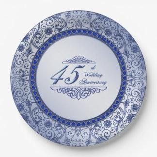 Placa de papel del aniversario de boda del zafiro platos de papel
