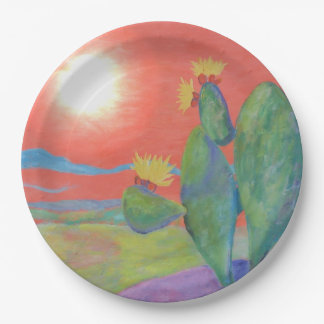 Placa de papel del cactus del desierto plato de papel de 9 pulgadas