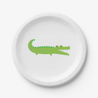 Placa de papel del cocodrilo verde platos de papel