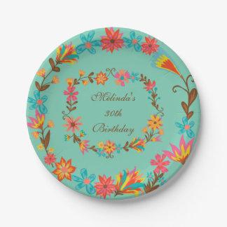 Placa de papel del cumpleaños floral de encargo plato de papel de 7 pulgadas