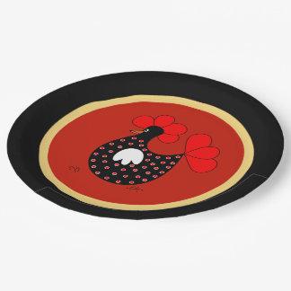 Placa de papel del dibujo animado del pollo del plato de papel de 9 pulgadas