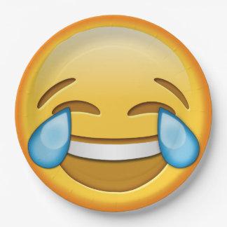 Placa de papel del emoji de la risa sonriente plato de papel de 9 pulgadas