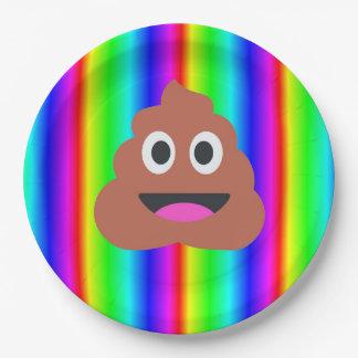 placa de papel del emoji del impulso del arco iris plato de papel de 9 pulgadas