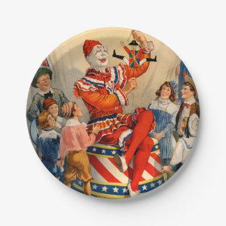 Placa de papel del fiesta con un poster del circo platos de papel