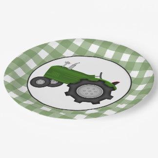 Placa de papel del fiesta del tractor del país plato de papel de 9 pulgadas