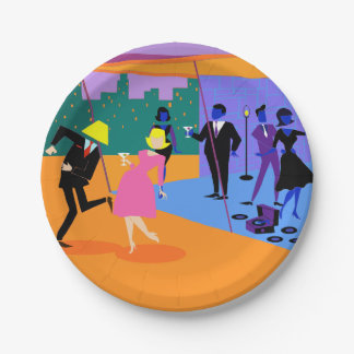 Placa de papel del fiesta urbano retro del tejado plato de papel de 7 pulgadas