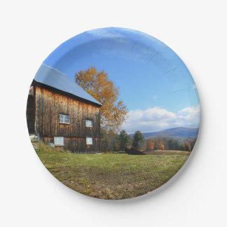 Placa de papel del granero de Vermont Plato De Papel De 7 Pulgadas