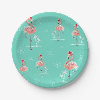 Placa de papel del grupo del flamenco del navidad plato de papel de 7 pulgadas
