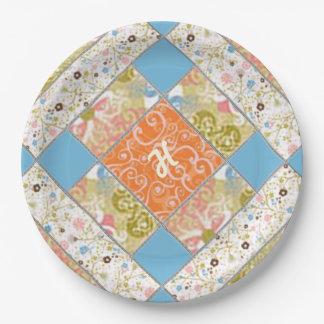 Placa de papel del modelo del bloque del edredón plato de papel 22,86 cm
