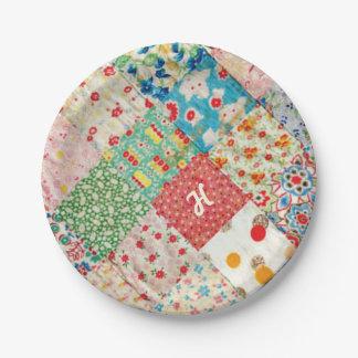 Placa de papel del modelo del edredón del vintage plato de papel de 7 pulgadas