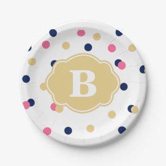 Placa de papel del monograma del lunar del rosa plato de papel de 7 pulgadas