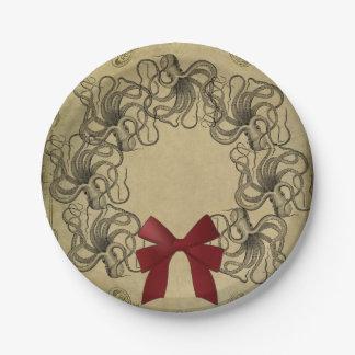Placa de papel del navidad del pulpo del vintage plato de papel de 7 pulgadas