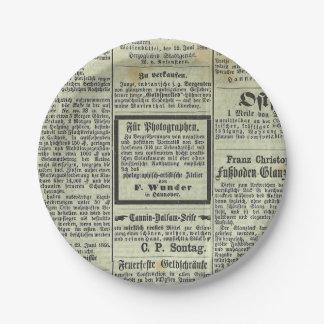 Placa de papel del periódico alemán del vintage platos de papel