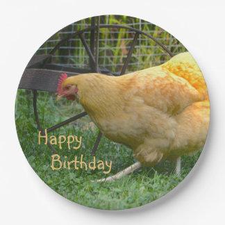 Placa de papel del pollo del feliz cumpleaños plato de papel de 9 pulgadas