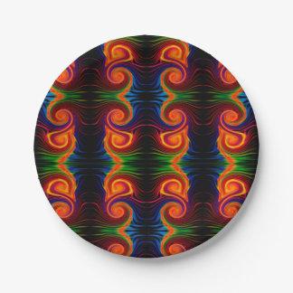 Placa de papel del remolino del espectro de color plato de papel de 7 pulgadas