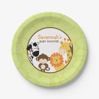 Placa de papel del safari brillante plato de papel de 7 pulgadas
