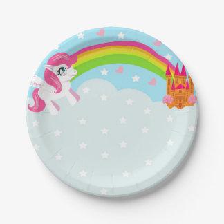 placa de papel del unicornio lindo plato de papel de 7 pulgadas
